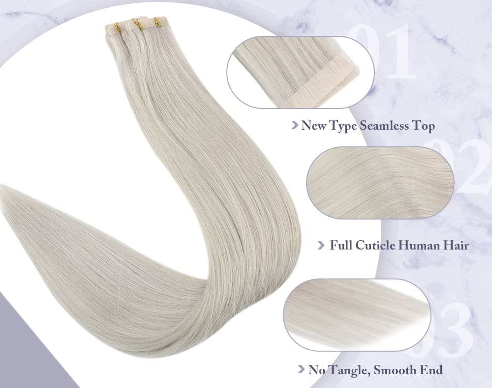 #800 laavoo ash blonde virgin tape in hair injection 100% real human hair extensions soft and silky natural human hair