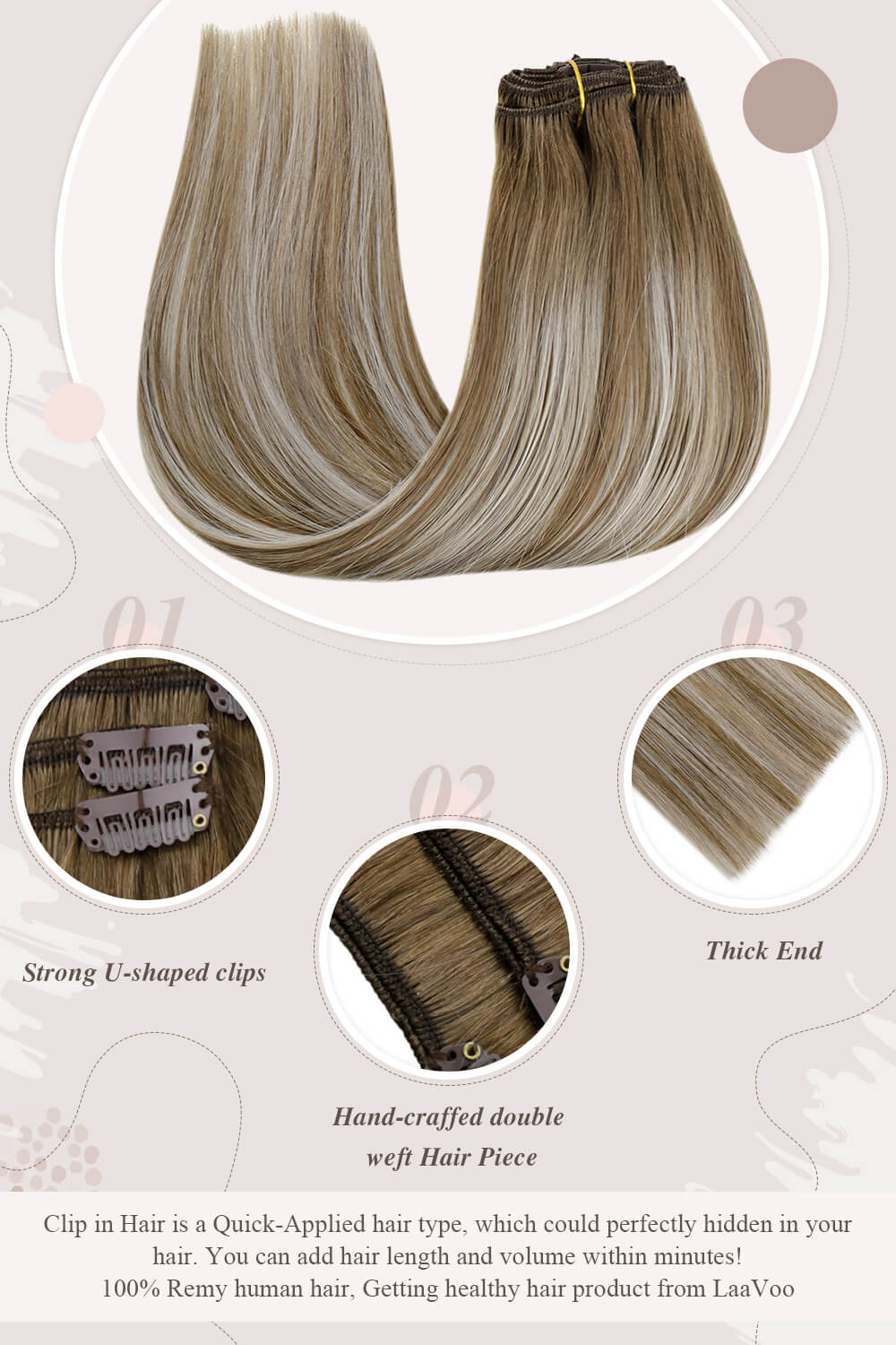darkest brownstrong U shaped clips hand craffed double weft hair piece thick end clip in hair perfectly hidden in your hair you can add hair length and volume within minutes Remy human hair getting healthy hair product