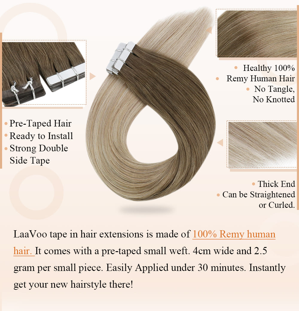 #8 60 18 laavoo remy human tape in hair extensions balayage blonde light brown and platinum blonde fading to ash blonde can be dyed and straighten blend well with your hair