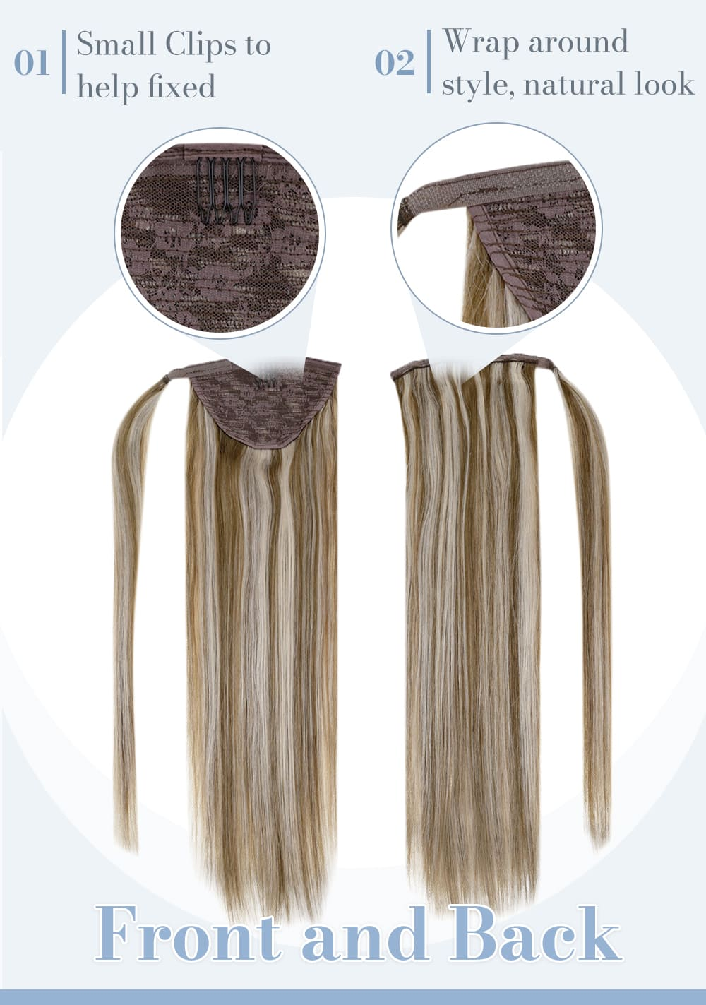 8 60 laavoo remy human hair ponytail balayage blonde chestnut brown fading to platinum blonde human hair extensions can last for a long time