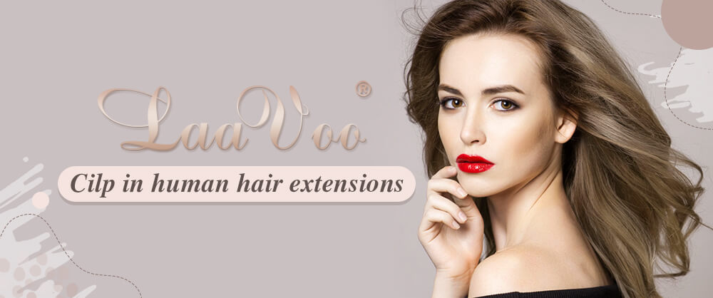 LaaVoo Clip in Hair Extensions remy human hair double weft hair thick end full head set