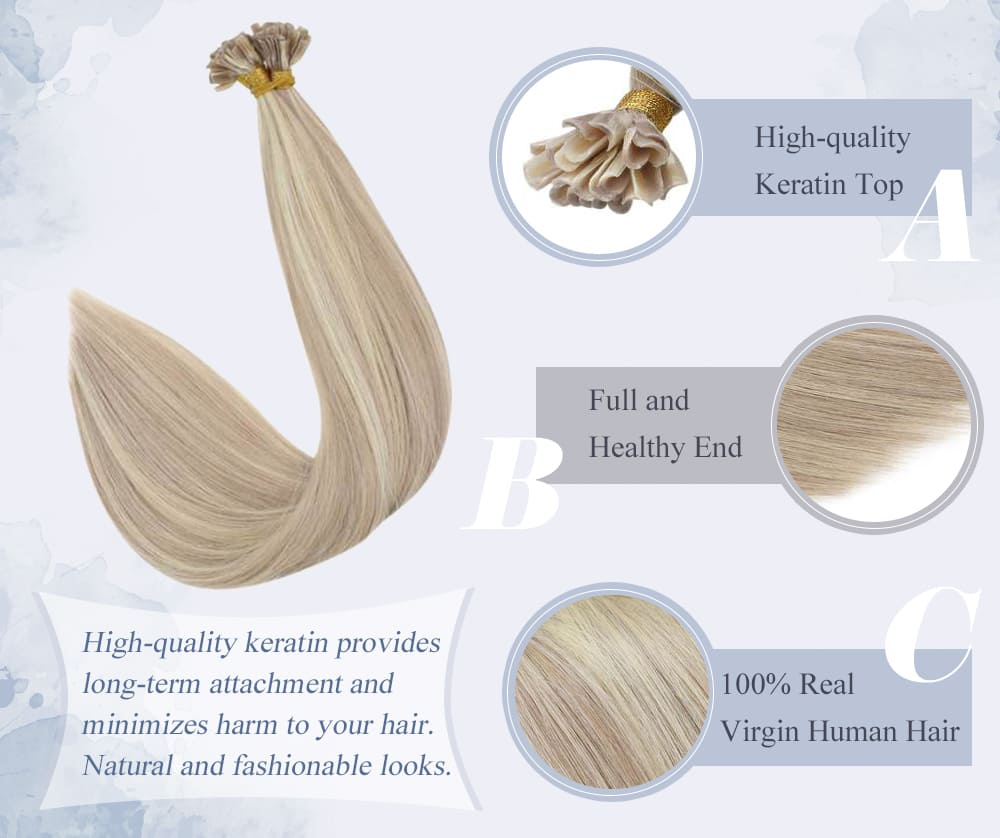 #P18 613 laavoo highlight color ash blonde mixed bleach blonde soft and smooth human hair extensions 10a quality