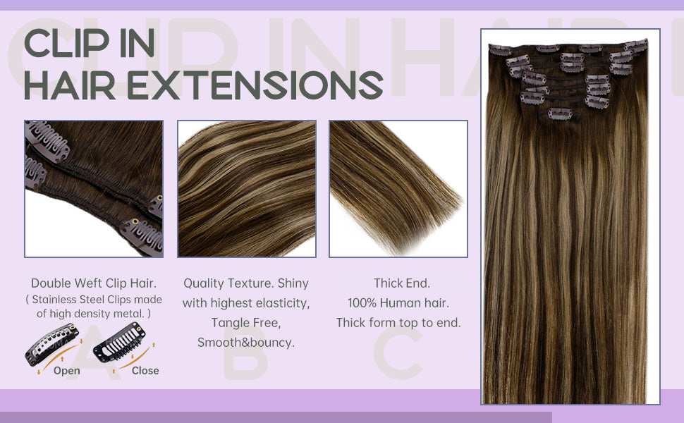 double weft clip in hair, thick end, remy human hair