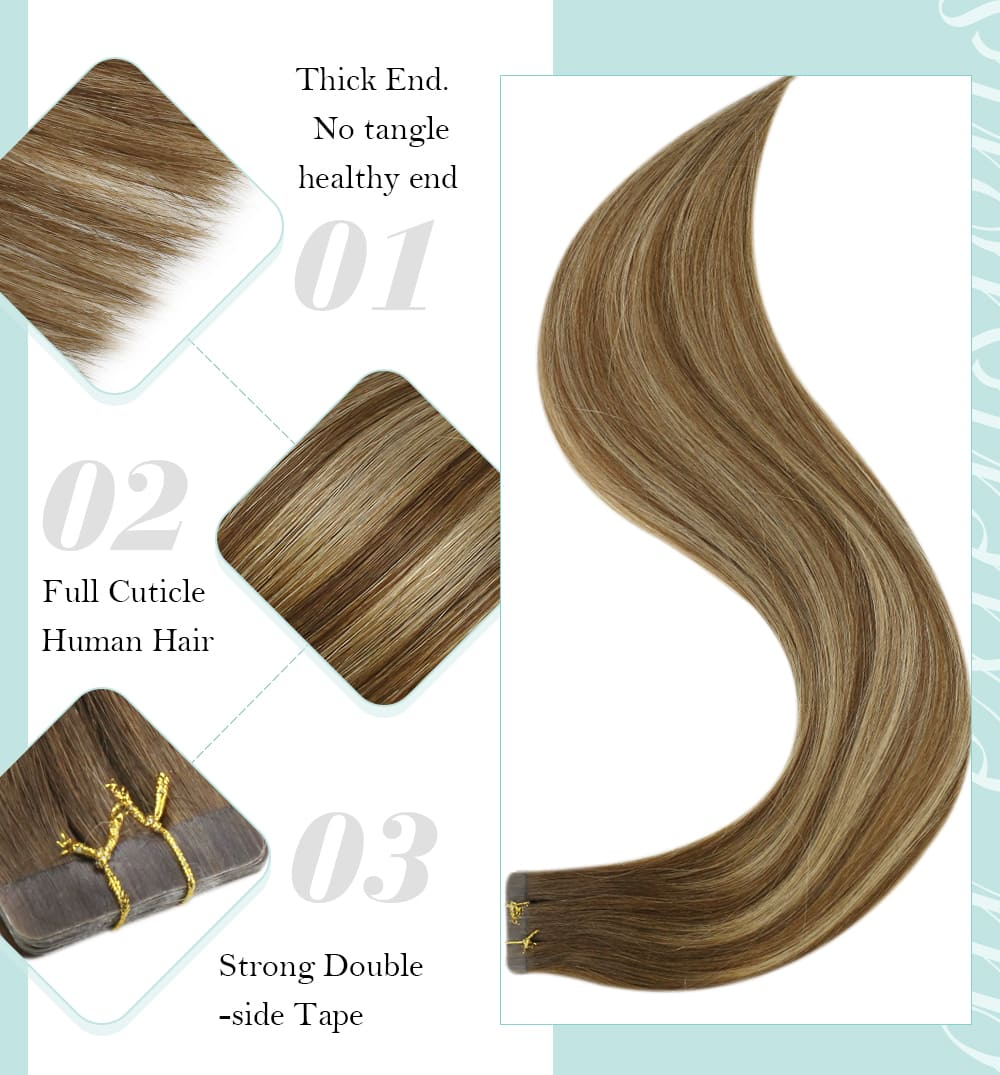 highlights brown and blonde virgin  regular tape in human hair extensions long lifespan and good quality