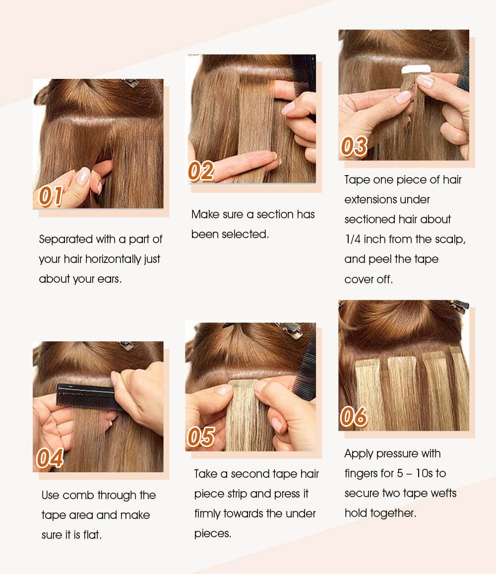 how to apply tape in hair extensions steps to install tape in hair easily 6 steps