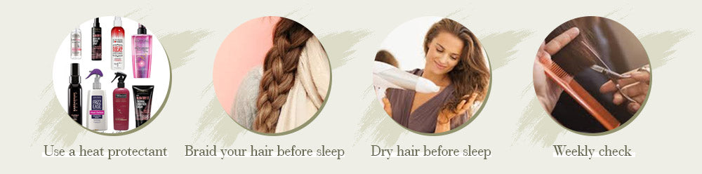 care hair tips 1. Our hair accepts curly and straighten. If you want to make heat styling, it is best to use heat protection products beforehand. Take out and replace attachments that have slipped or grown out, or that appear to need refreshing. Always use the remover/removal accessories to avoid damage to your natural hair. 2.If possible, keep your hair in braids while you sleep and exercise. This will help make sure your hair won't tangle -- and you'll also get nice waves by morning. Win-win! 3. Brush and sleep with dry hair. 4. Weekly check-Go over your entire head, straightening any attachment and detangling any knots that may have appeared on the scalp. Brush out your hair. Wash your hair and let them dry.