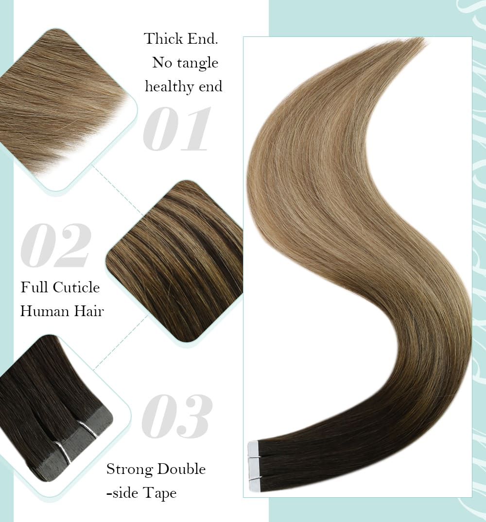 laavoo balayage blonde human hair tape in virgin quality 100% real Brazilian virgin quality silky straight smooth and soft