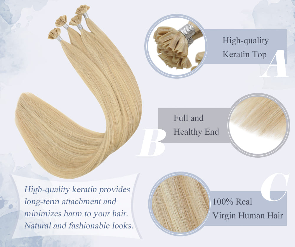 laavoo highlight color virgin u tip human hair extensions 25 grams per pack blend well with your hair can last for a long time