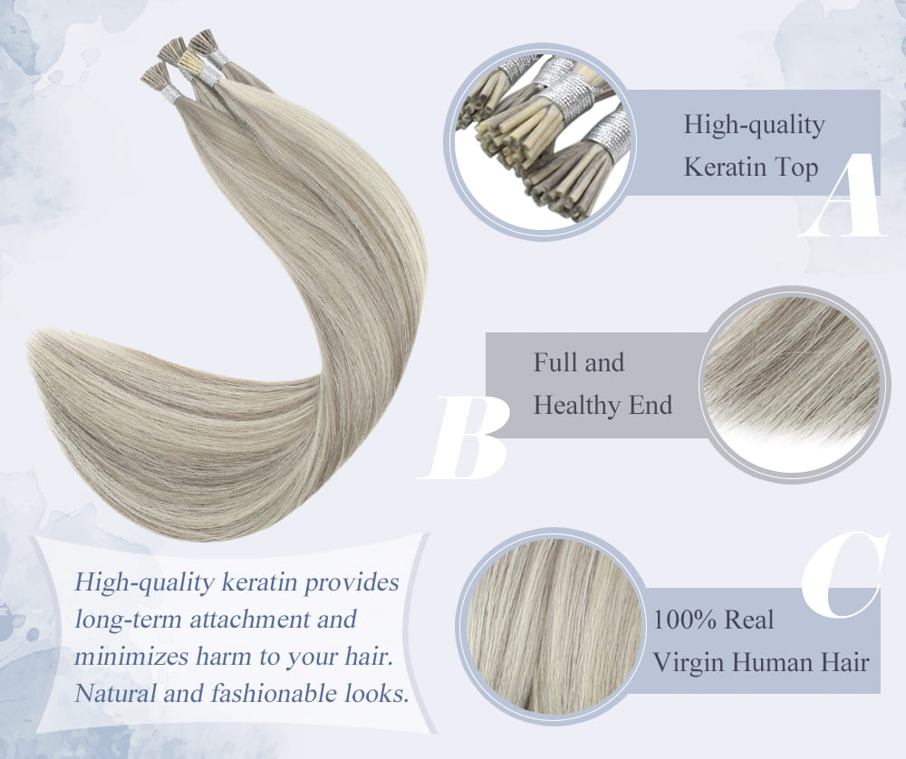laavoo higjlight color virgin i tip human hair extensions blend well with your hair can be last for a long time