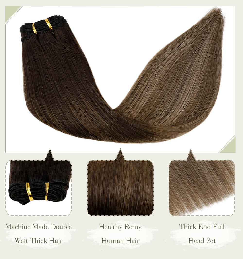 machine made double weft thick hair  healthy remy human hair thick end full head set