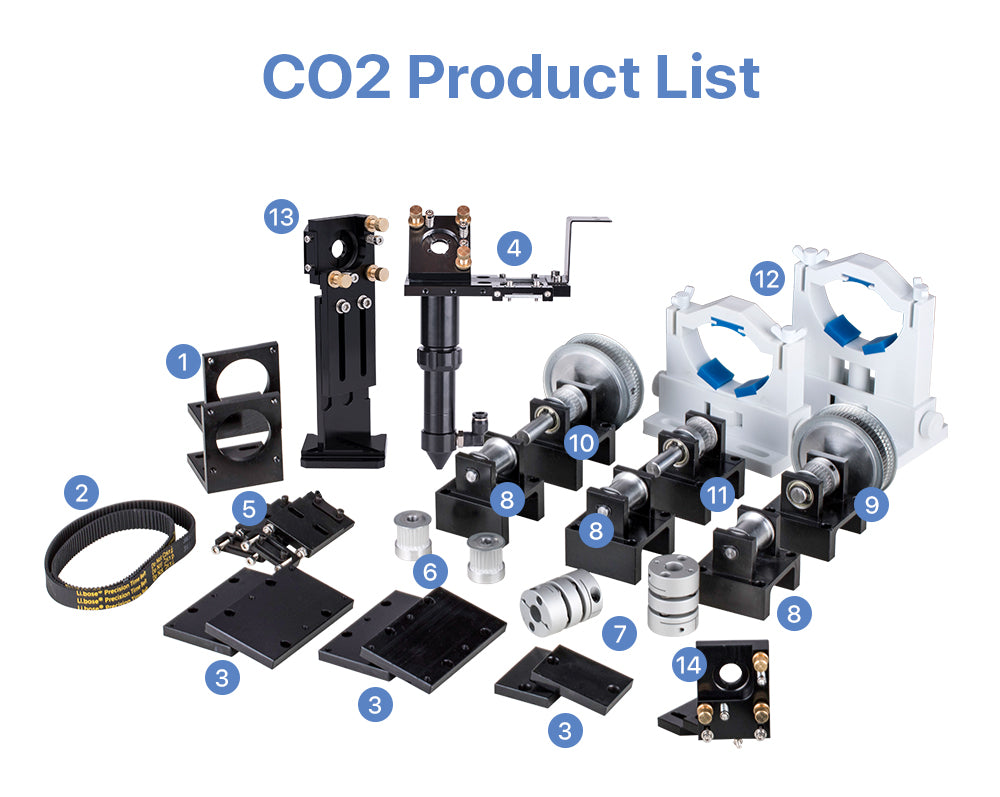 C Series CO2 Laser Metal Parts Mechanical Parts Set Transmission Laser head