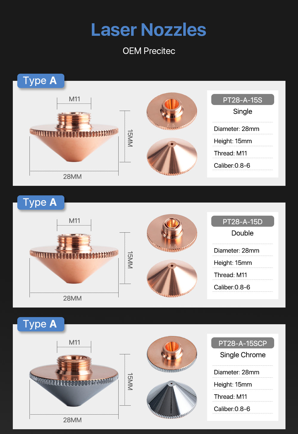 A Type Precitec Cutting Nozzles Single( Double) Layer (Chorme Plated) D28mm H11 H15mm Caliber 0.8 6.0mm