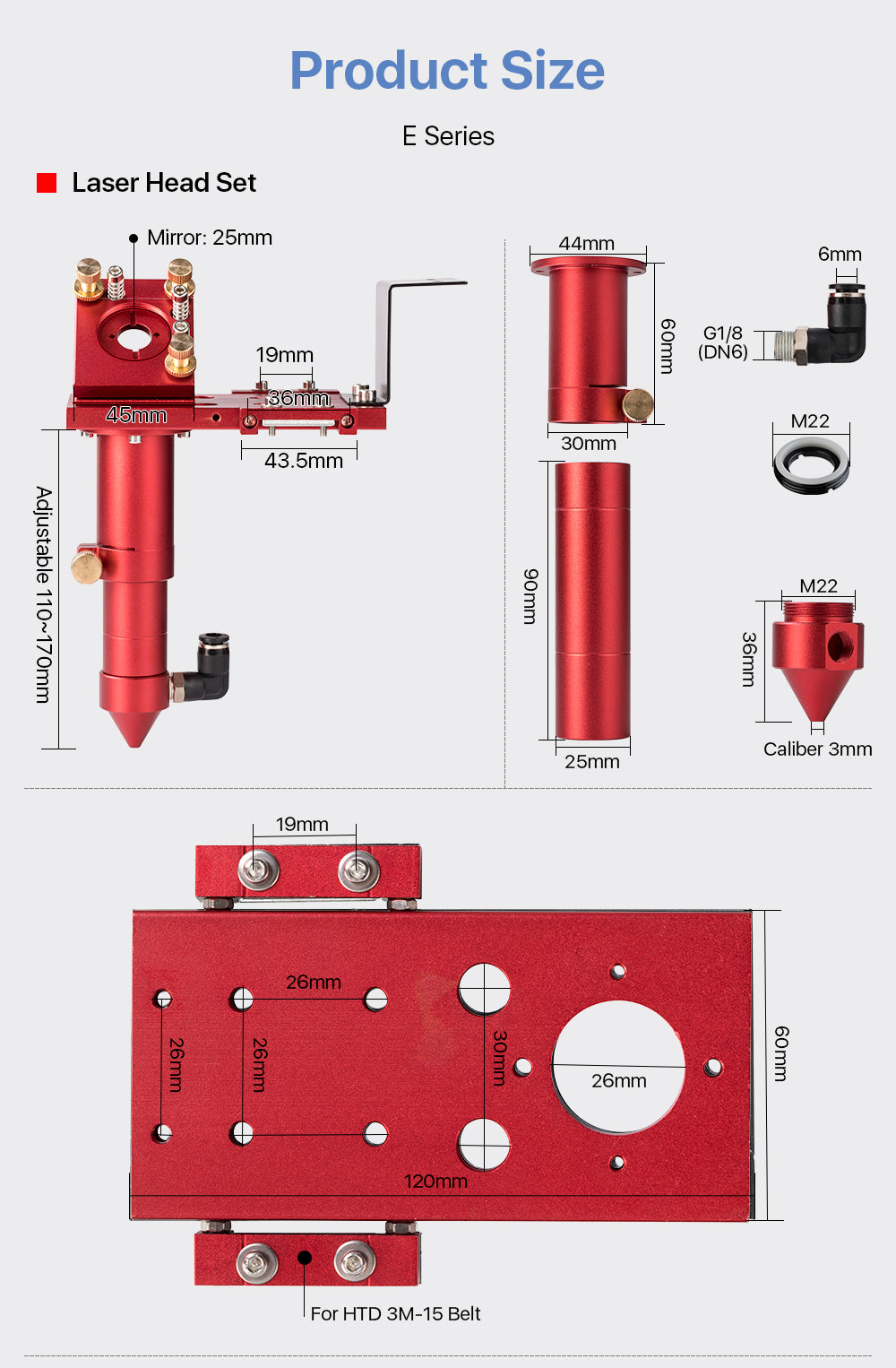 E Series CO2 Laser Head Set + 1 Pcs Focus Lens 20mm + 3 Pcs Reflective Mirror 25mm Red for CO2 Laser Engraving Cutting Machine