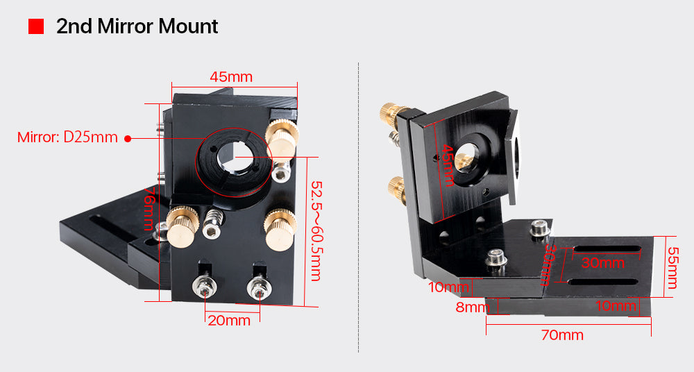 CO2 Laser Head Set + 1 Pcs Focus Lens18/20mm + 3 Pcs Reflective Mirror 25mm for CO2 Laser Engraving Cutting Machine