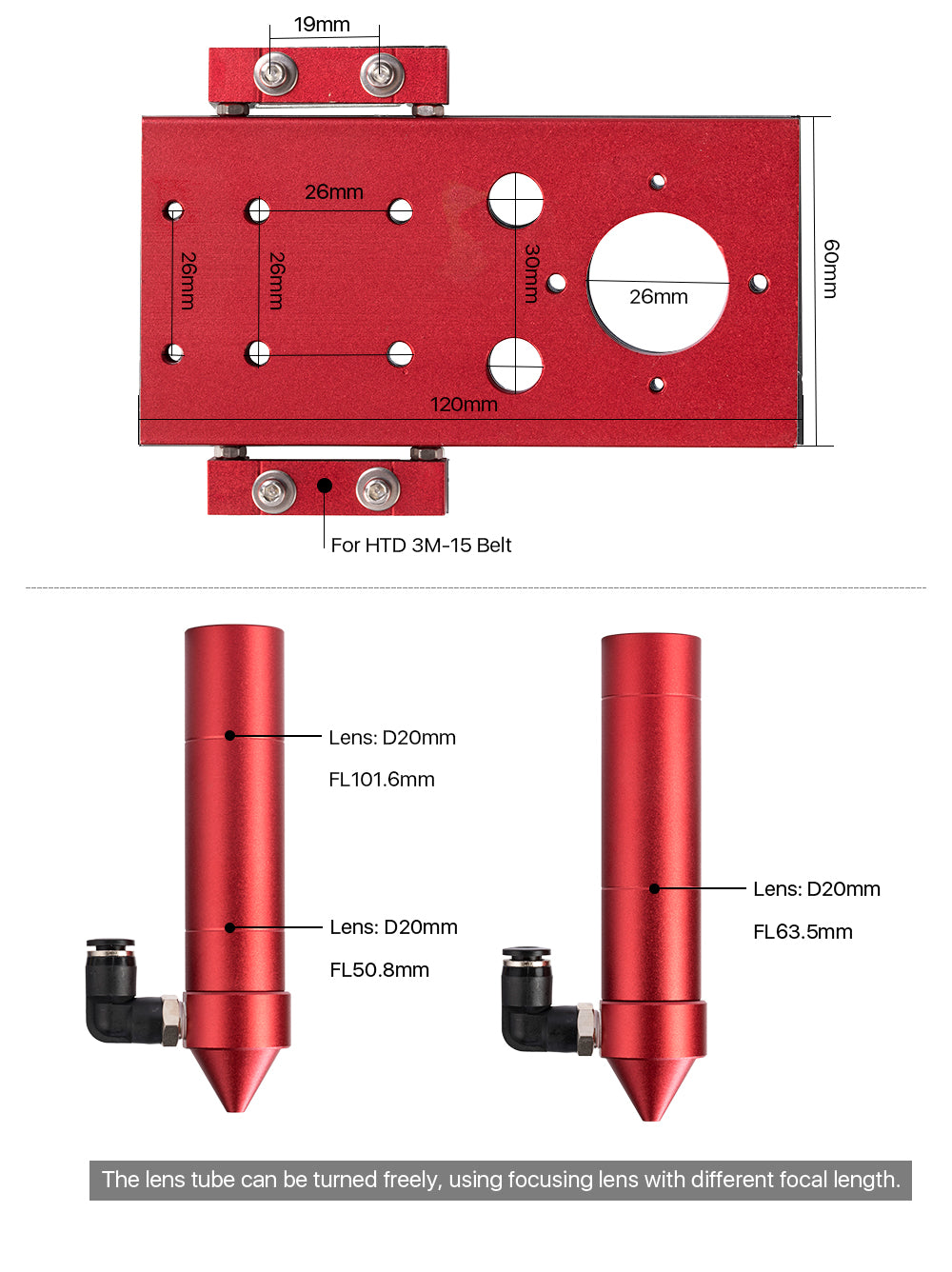 CO2 Laser Head (Red) for Focus Lens Dia.18/20mm FL38.1/50.8/63.5/101.6mm for Laser Cutting Machine