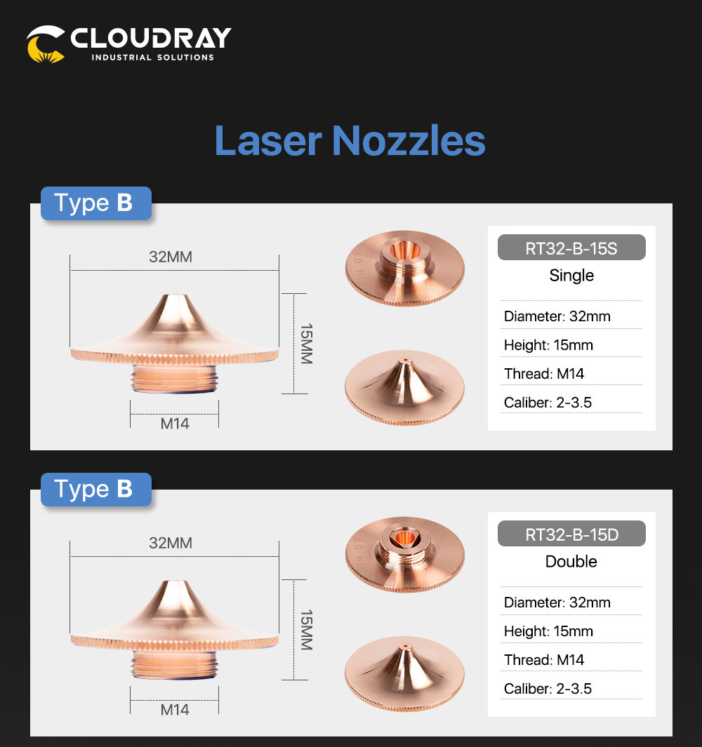 Cloudray Nozzles B Type for Raytools FZ Cutting Nozzles Dia.32mm Height 15mm Caliber 0.8 - 6.0mm