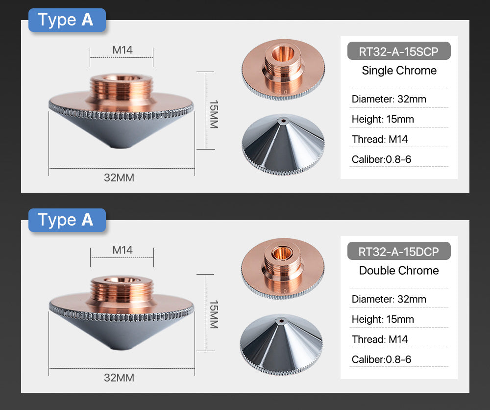 Cloudray Laser Nozzle A Type for Raytools Cutting Nozzles Dia.32mm Height 15mm Caliber 0.8 - 6.0mm