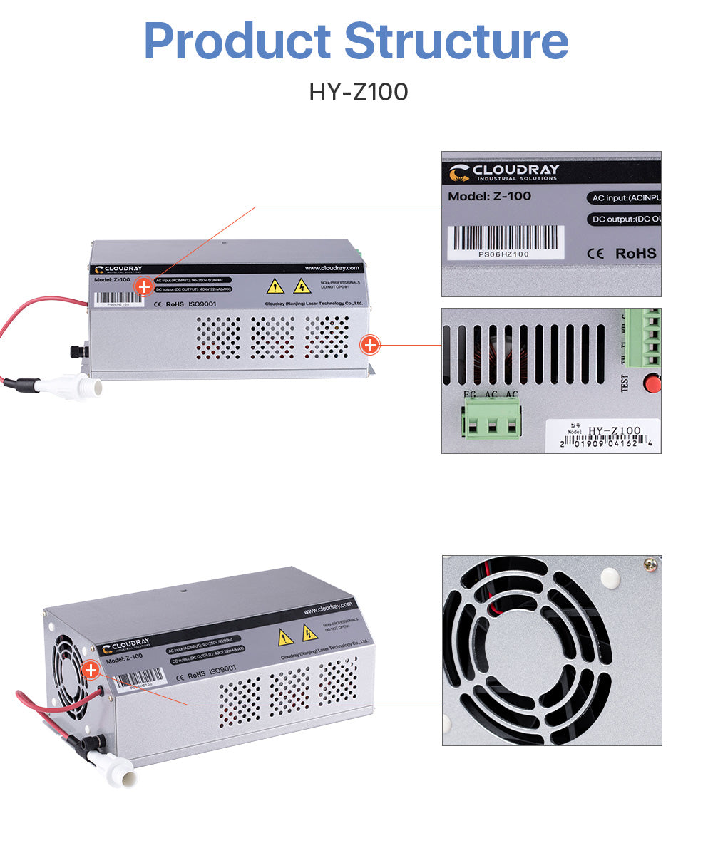 Co2 100-120W power supply for Laser engraving cutting machine