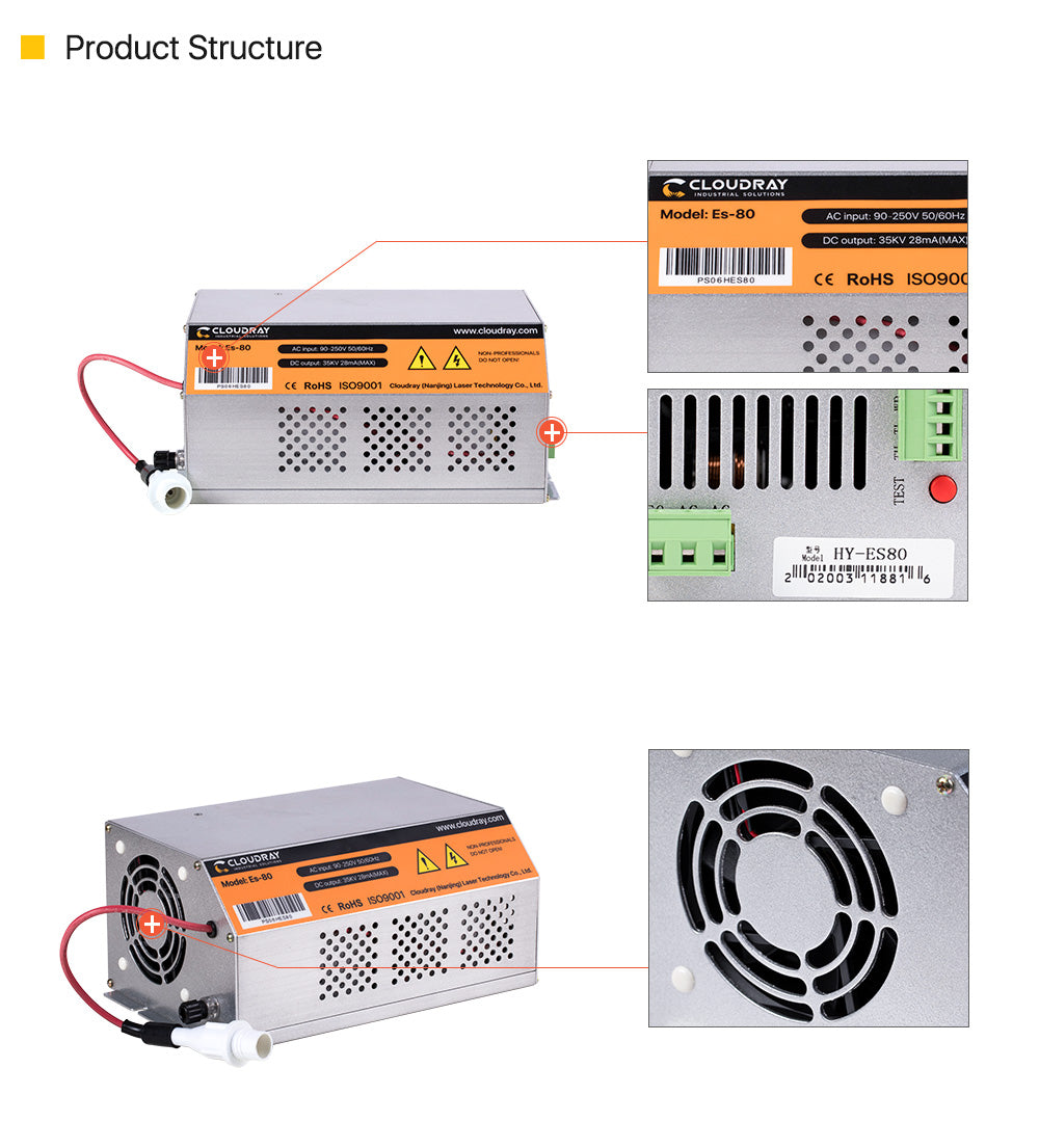 80-100W AC90-250V CO2  HY-Es Series Power Supply for Laser engraving cutting machine