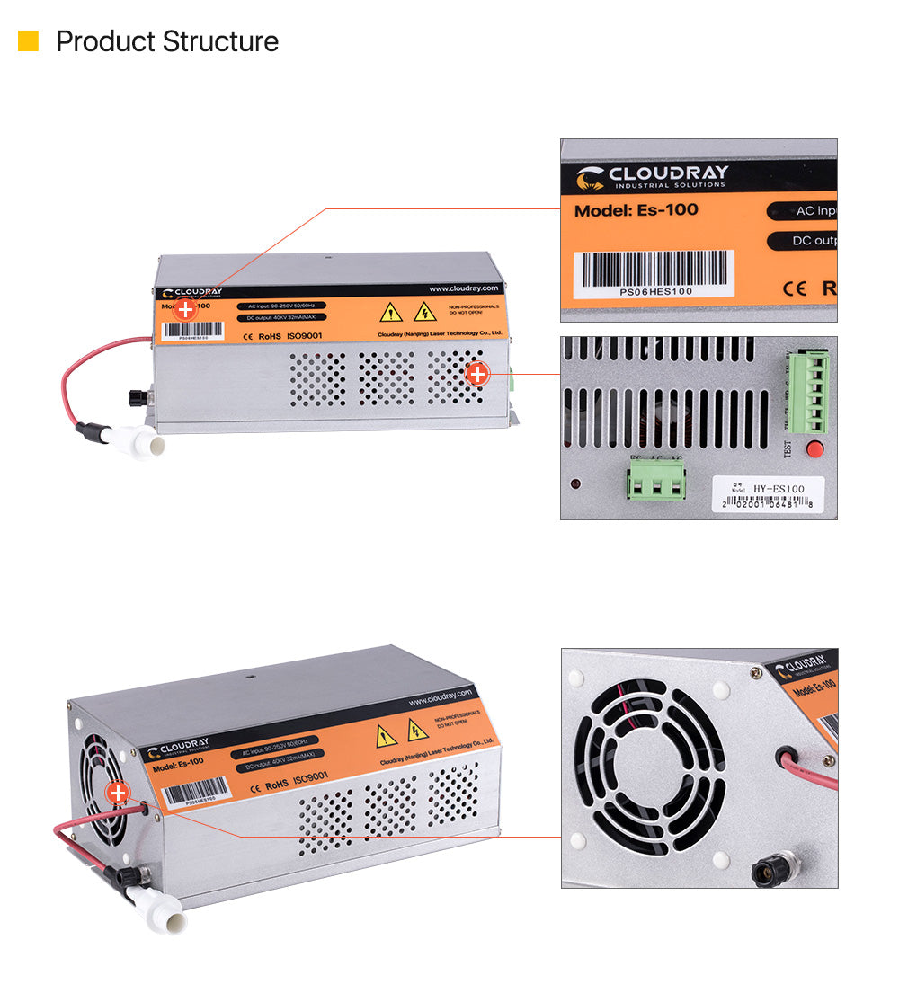 100-120W AC90-250V CO2 Power Supply for Laser engraving cutting machine
