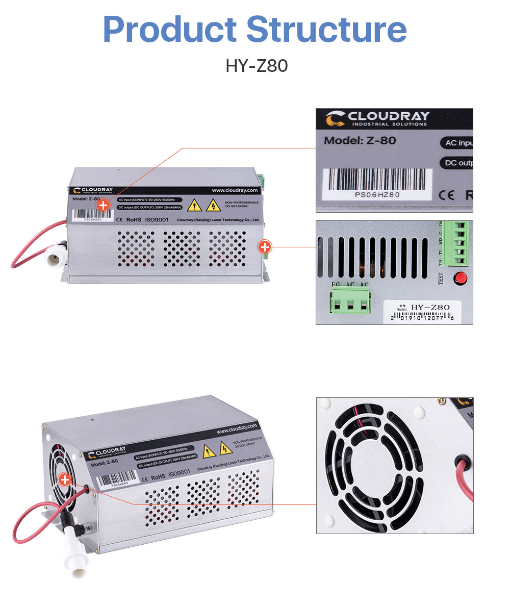 80-100W CO2 Laser Power Supply AC90-250V for CO2 Laser Engraving Cutting Machine