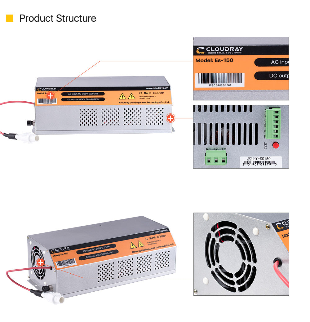 150-180W CO2 Laser Power Supply for CO2 Laser Engraving Cutting Machine