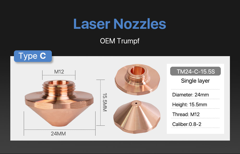 C Type OEM Trumpf EAA Nozzles Single Layer Caliber 0.8mm-2.7mm