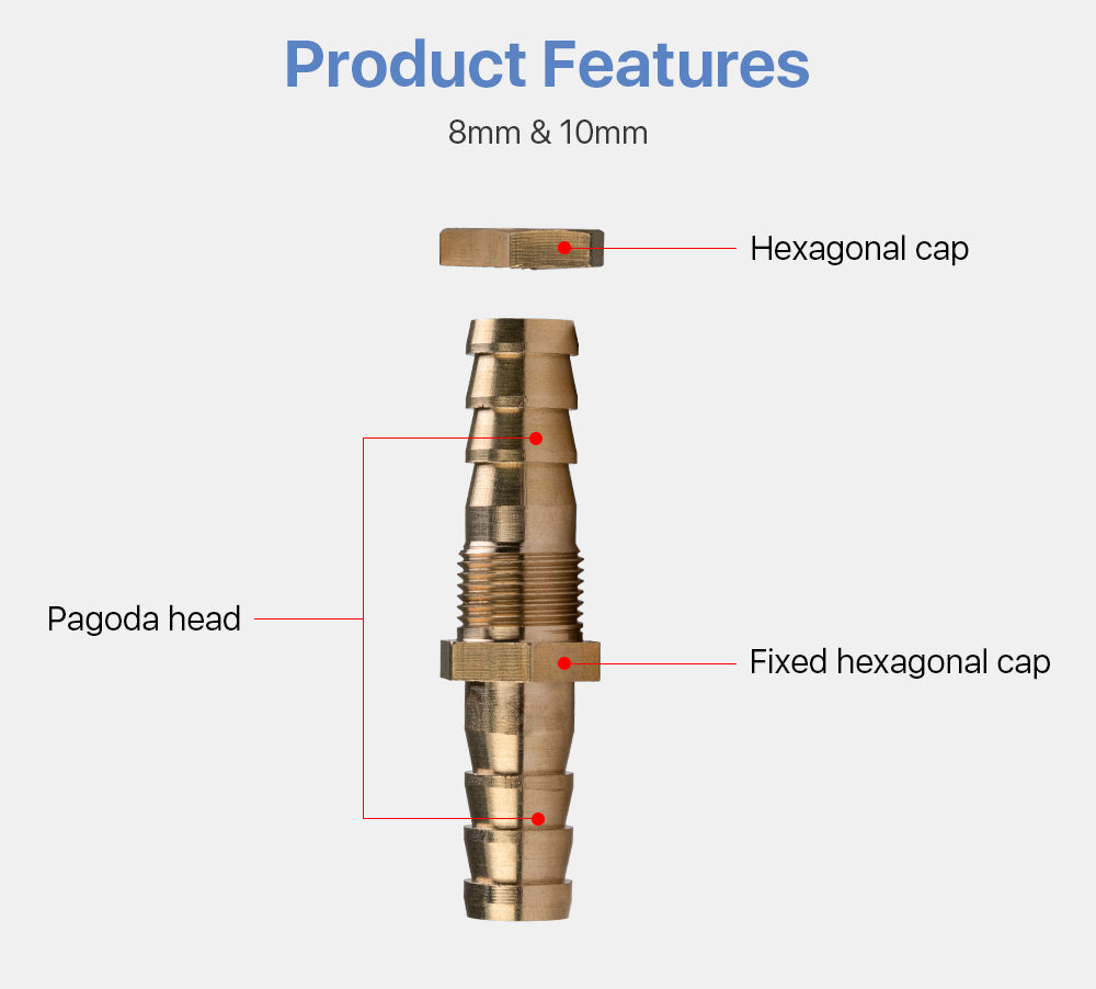 Pagoda Connector Head 8mm&10mm For Water Flow Switch