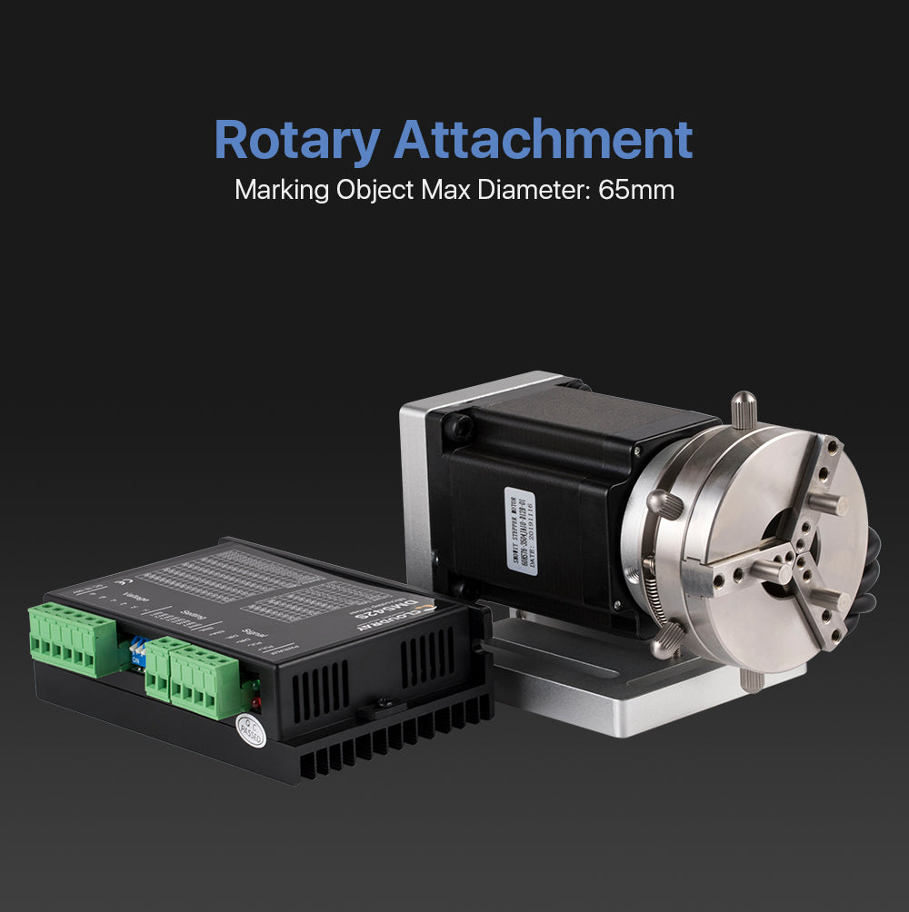 Rotary Attachment Marking Object Max Diameter 65mm with Driver DM542S for Fiber Laser Marking Machine or Co2 Engraving Machine