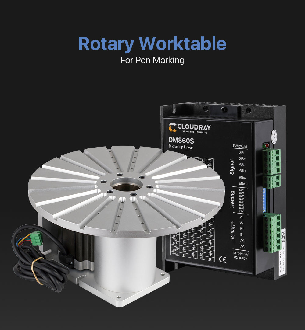 Rotary Worktable 20 Slots Neam 34 Motor and Driver for Pen Lipstic and other Cylinder Marking