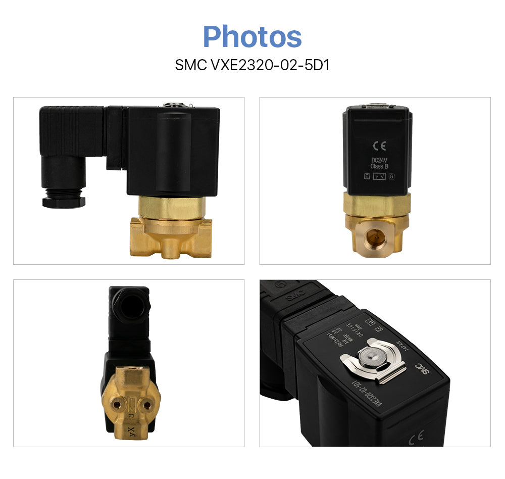 Cloudray Direct Operated 2 Port Solenoid Valve SMC VXE2330-02-5D1 Air Steam 3.0Mpa for the Fiber Cutting Machine Pneumatic System