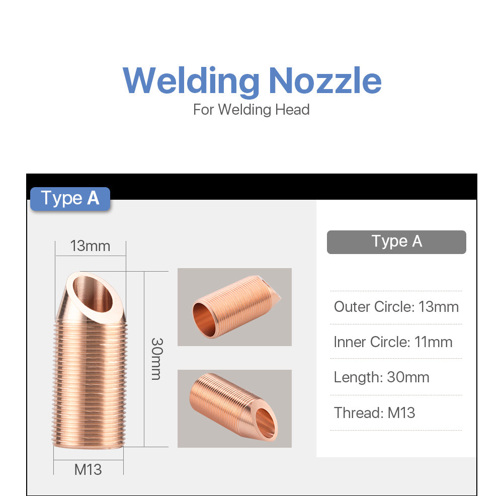 Welding nozzle Type A thread M13 with wire feed for welding head