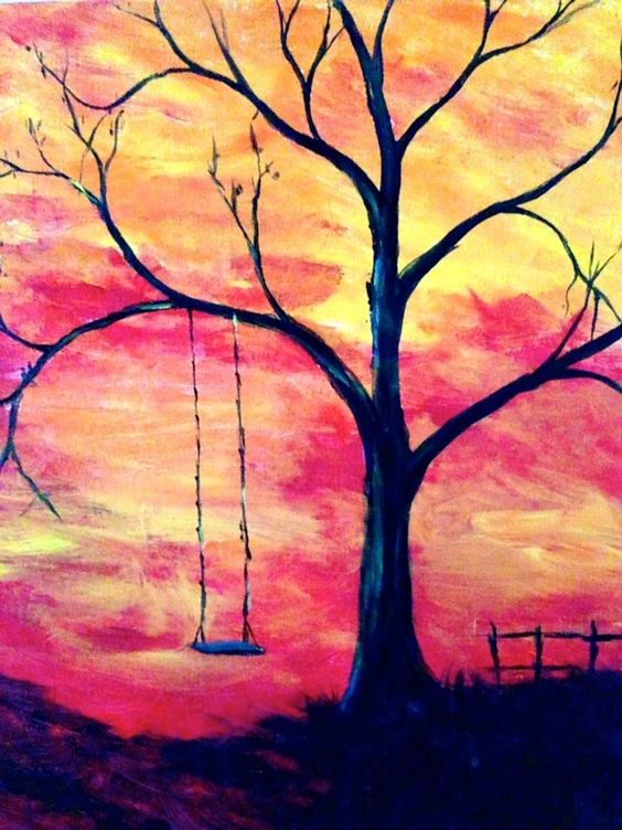 Easy Landscape Painting Ideas for Beginners, Simple Canvas Painting Ideas for Kids, Easy Tree Paintings, Swing Painting, Easy Acrylic Painting Ideas for Beginners, Easy Abstract Paintings
