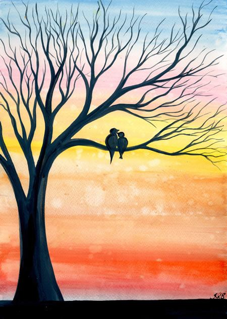 Easy Landscape Painting Ideas for Beginners, Simple Canvas Painting Ideas for Kids, Easy Tree Paintings, Easy Acrylic Painting Ideas for Beginners, Bird Painting, Easy Abstract Paintings