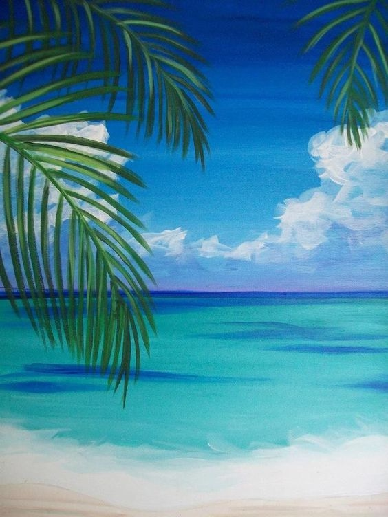 Easy Landscape Painting Ideas for Beginners, Simple Canvas Painting Ideas for Kids, Beach Paintings, Easy Acrylic Painting Ideas for Beginners, Easy Abstract Paintings