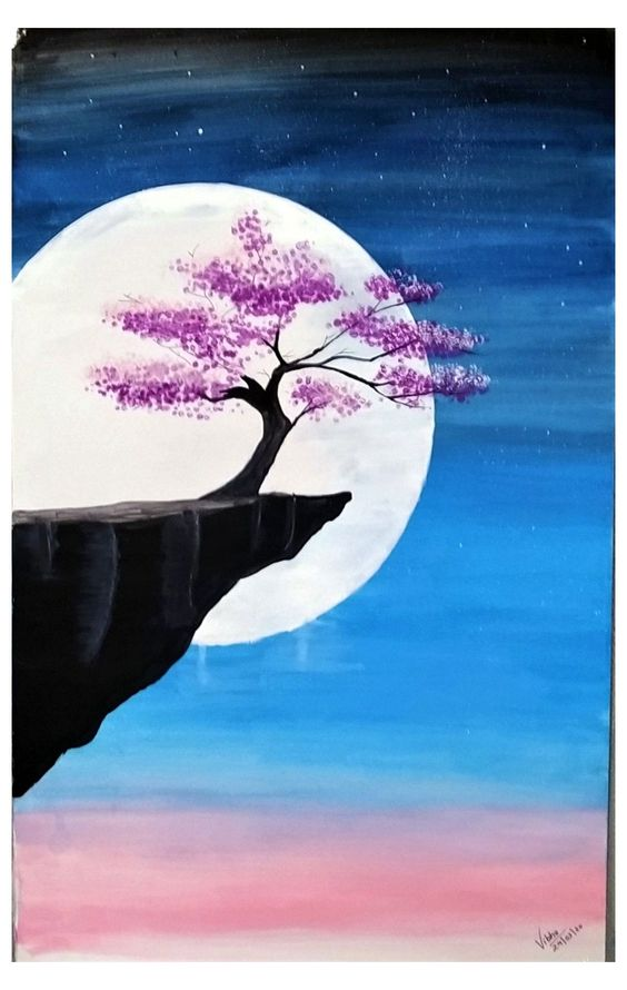 Easy Landscape Painting Ideas for Beginners, Simple Canvas Painting Ideas for Kids, Easy Tree Paintings, 30 Easy Acrylic Painting Ideas for Beginners, Moon Paintings, Easy Abstract Paintings