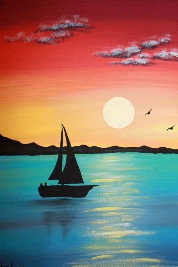 30 Easy Acrylic Painting Ideas for Beginners, Sunrise Paintings, Easy Landscape Painting Ideas for Beginners, Simple Canvas Painting Ideas for Kids, Boat Paintings, Easy Abstract Paintings