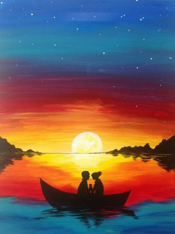 30 Easy Acrylic Painting Ideas for Beginners, Easy Landscape Painting Ideas for Beginners, Sunset Painting, Simple Canvas Painting Ideas for Kids, Boat Paintings, Easy Abstract Paintings