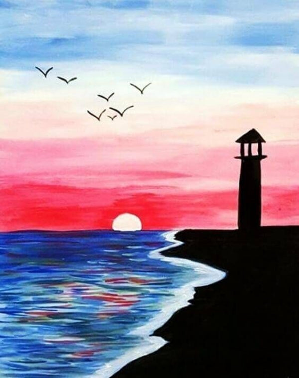 30 Easy Acrylic Painting Ideas for Beginners, Easy Landscape Painting Ideas for Beginners, Simple Canvas Painting Ideas for Kids, Sunrise Painting, Light House Painting, Easy Abstract Paintings