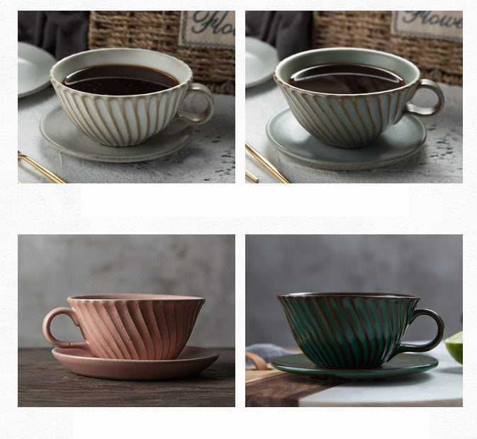 Gray Pottery Coffee Cups, Cappuccino Coffee Mug, Latte Coffee Cup,  Breakfast Milk Cup, Ceramic Coffee Cup, Coffee Cup and Saucer Set