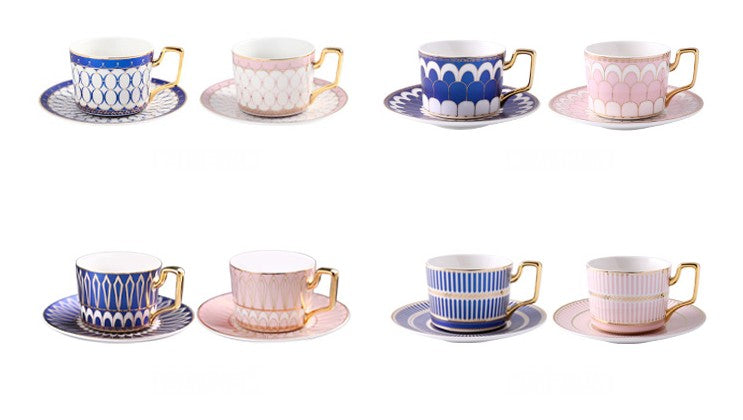 British Tea Cups, Coffee Cups with Gold Trim and Gift Box, Elegant Porcelain Coffee Cups, Tea Cups and Saucers