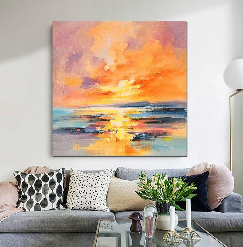 Abstract Landscape Painting, Sunrise Painting, Large Landscape Painting for Living Room, Hand Painted Art