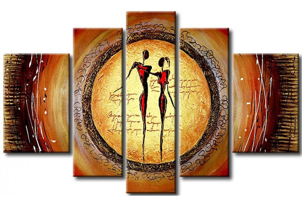 Abstract Art of Love, Acrylic Modern Paintings, 5 Piece Wall Art, Paintings for Living Room, Painting for Sale