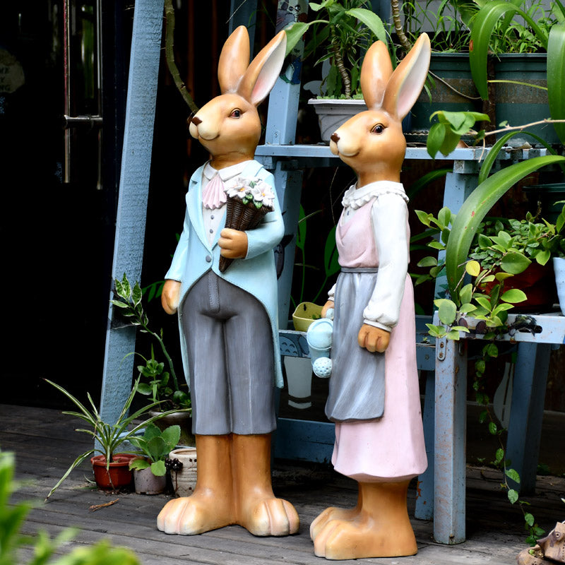 Extra Large Rabbit Couple Statue, Rabbit Statues, Animal Statue for Garden Ornament, Villa Courtyard Decor, Outdoor Decoration, Garden Ideas