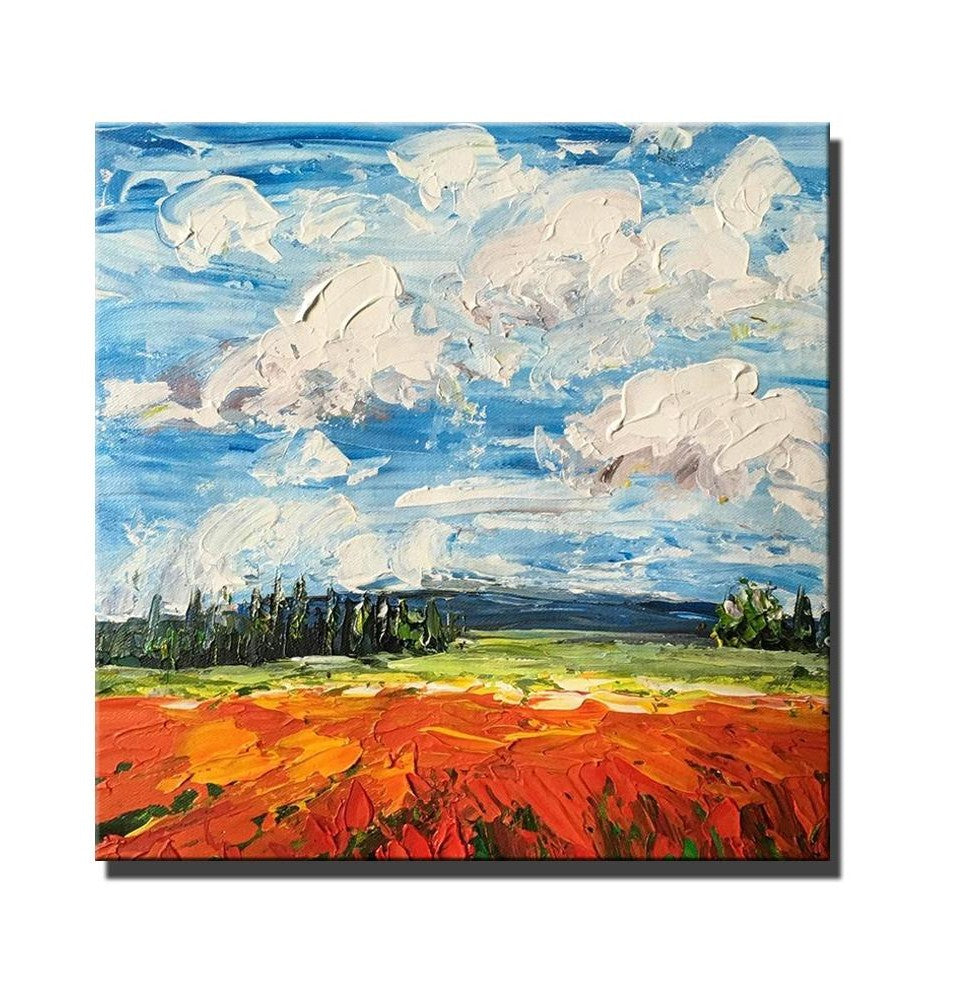 Red Poppy Field and Sky, Abstract Landscape Painting, Large Landscape Painting for Dining Room, Heavy Texture Painting