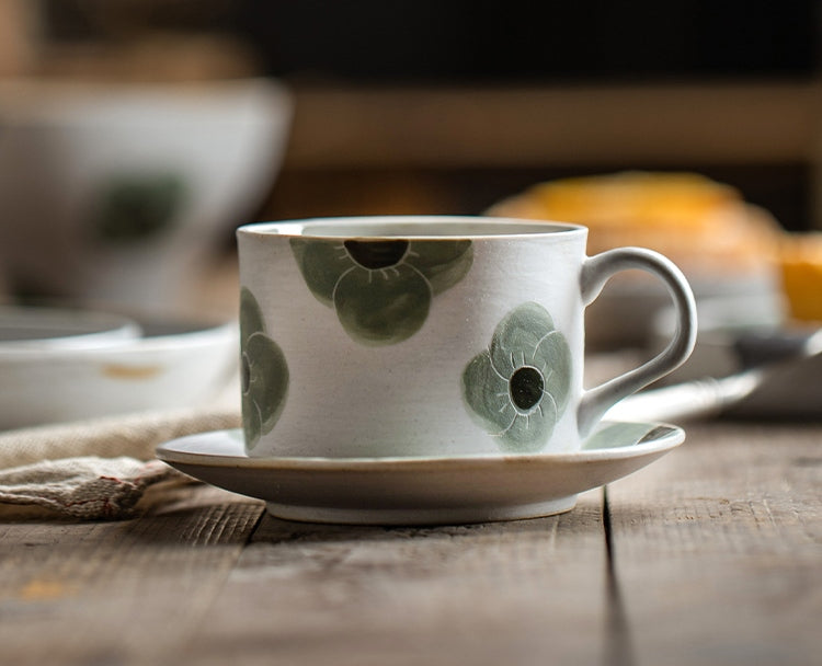 Cappuccino Coffee Cup, Spring Flower Coffee Cup, Rustic Tea Cup, Pottery Coffee Cups, Coffee Cup and Saucer Set