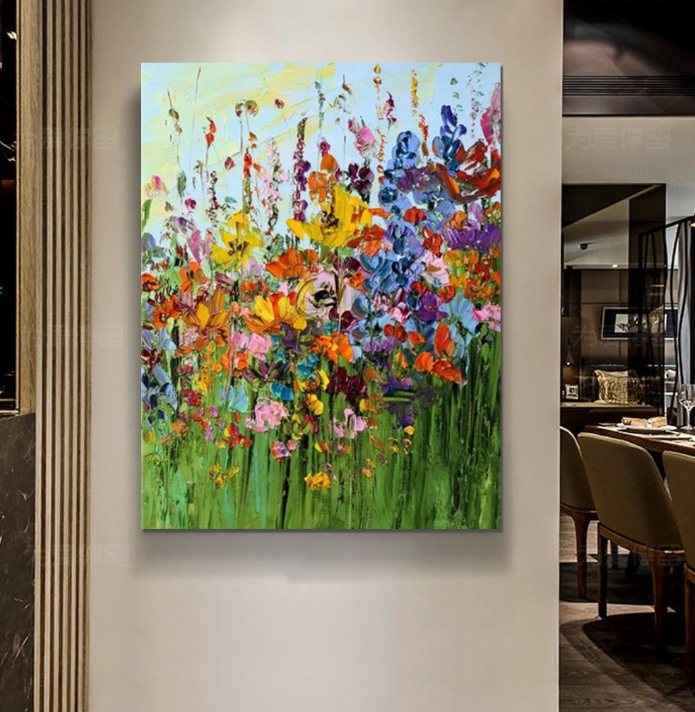 Flower Field Painting, Extra Large Paintings for Dining Room, Abstract Landscape Painting, Palette Knife Art