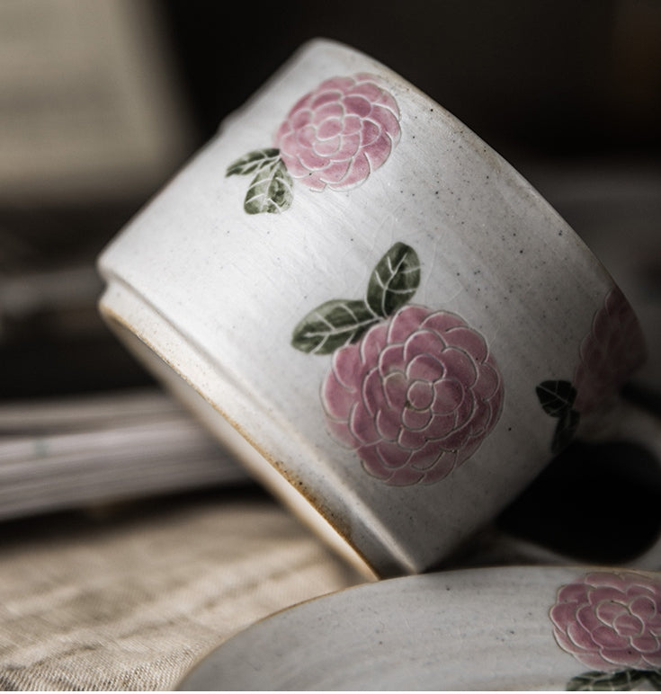 Rose Flower Pattern Coffee Cup, Cappuccino Coffee Mug, Tea Cup, Pottery Coffee Cups, Coffee Cup and Saucer Set