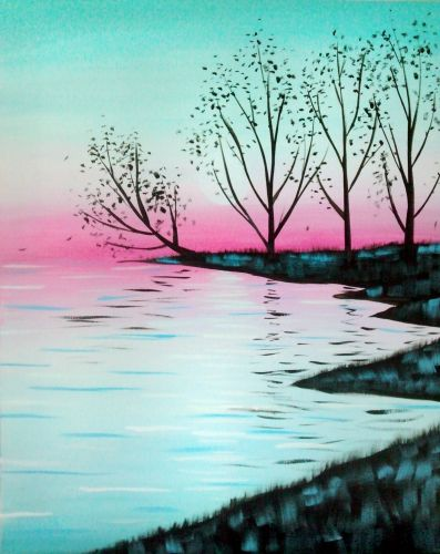 50 Easy DIY Acrylic Painting Ideas, Easy Landscape Painting Ideas for Beginners, Tree Lake Painting, Simple Oil Painting Techniques
