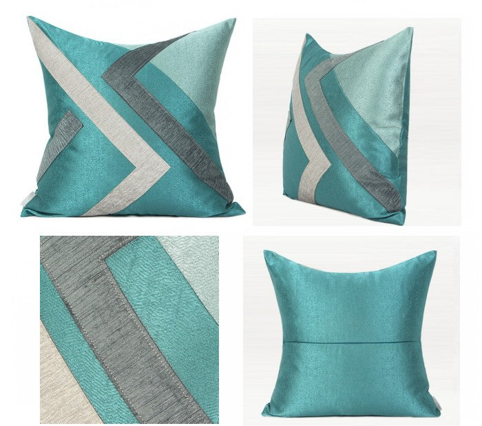 Blue, White, Gray Simple Style Pillow, Modern Throw Pillows, Decorative Sofa Pillows, Modern Couch Pillows, Blue Pillows for Living Room